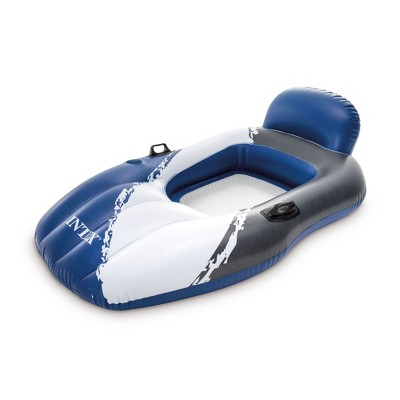 Intex Floating Inflatable Mesh Lounge Chair Pool Float Lounger with Cupholder and Handles, Blue and White
