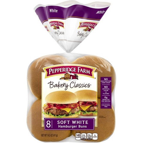 Pepperidge Farm Bakery Classics Soft White Hamburger Buns, 14.5oz Bag, 8pk - image 1 of 4