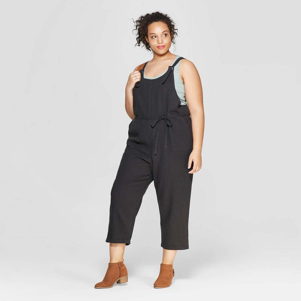 Women's Plus Size Sleeveless Belted Overalls - Universal Thread Gray 1X