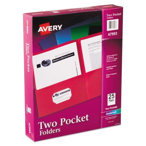 Avery Two-Pocket Paper Folder 40-Sheet Capacity Assorted Colors 25/Box