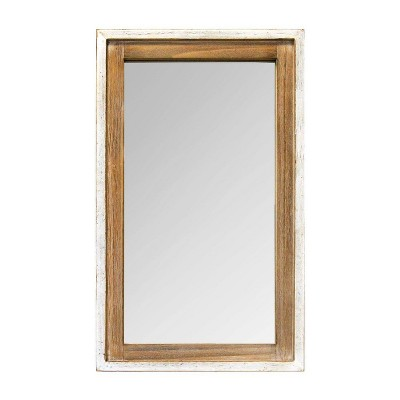 "16.5"" x 27"" Adeline Wood Mirror White/Natural - Stratton Home Décor"