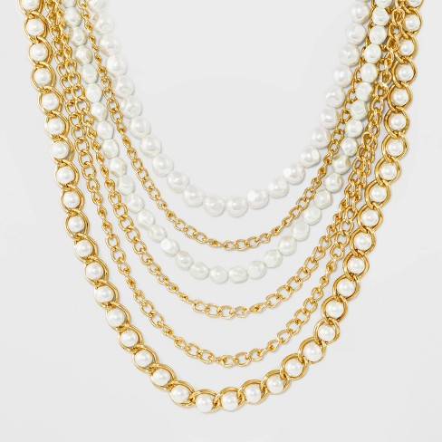 Multi Strand Necklace - A New Day™ Pearl/Gold - image 1 of 3