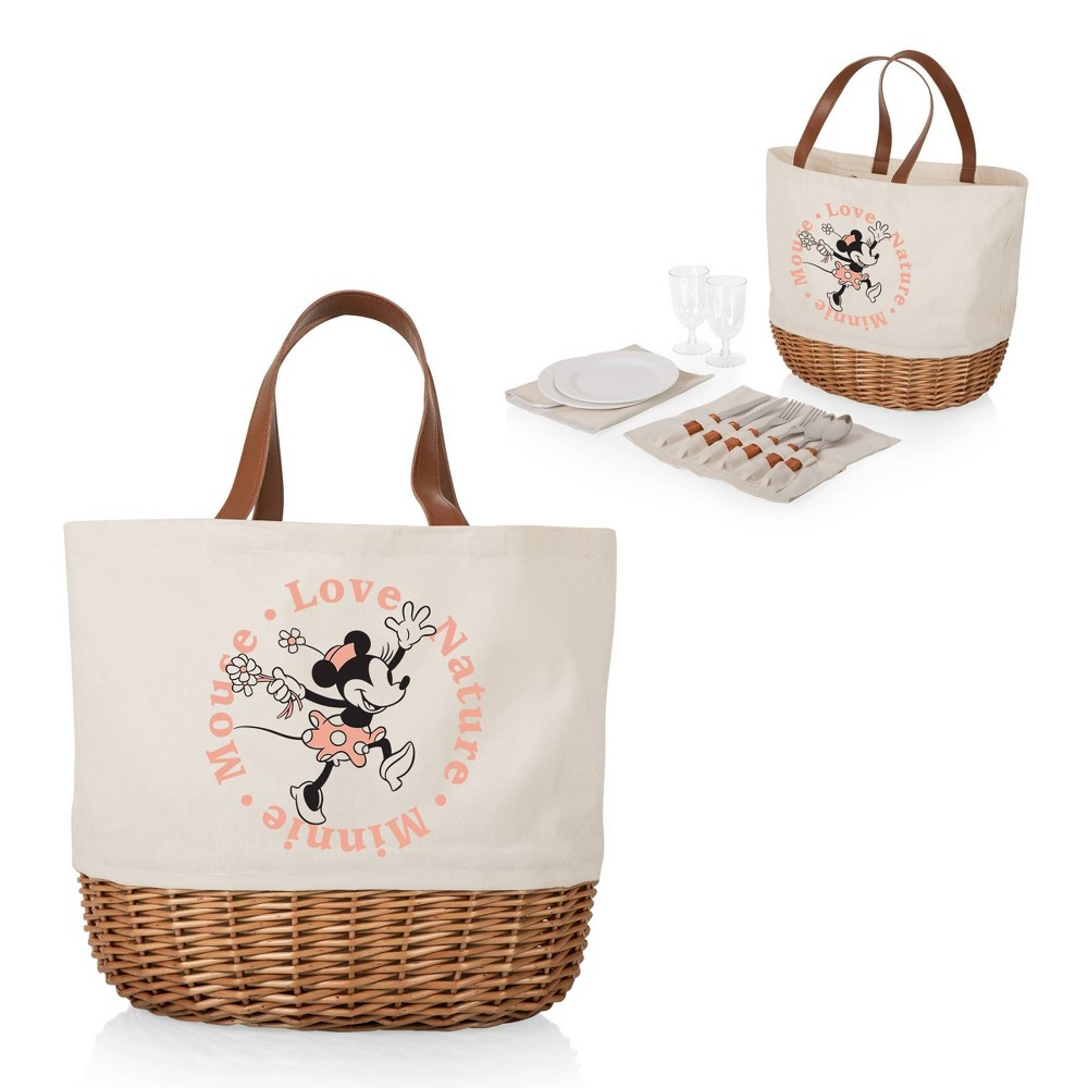 Picnic Time Promenade Canvas And Willow Picnic Basket Minnie Mouse