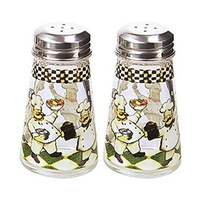 Grant Howard 3.4 Ounce Capacity Hand Painted Chefs Tapered Salt and Pepper Shaker Set for Kitchen and Dining Table, Multicolor