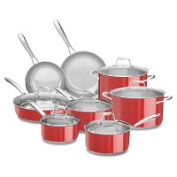 KitchenAid 14pc Cookware Set with Glass Lids KCSS14LS