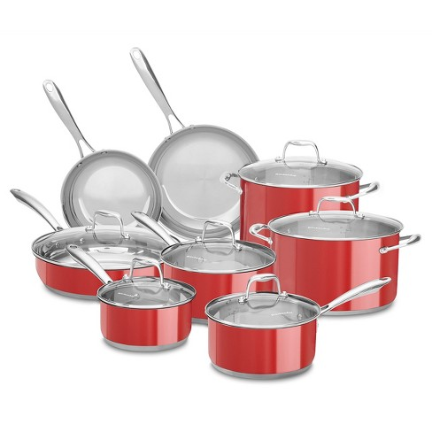 KitchenAid Cookware Set 14pc Red : Target on staub cookware, rachael ray cookware, anolon cookware, farberware cookware, lodge cookware, chef's choice cookware, dacor cookware, cook stainless steel cookware, induction cookware, bluestar cookware, paula deen cookware, baker's edge cookware, vasconia cookware, titanium cookware, delonghi cookware, williams-sonoma cookware, fujimaru cookware, calphalon cookware, cuisinart cookware, all-clad cookware, circulon cookware, scanpan cookware, emeril cookware, magnalite cookware, le creuset cookware, thermos cookware, viking cookware, sears cookware, sur la table cookware, pfaltzgraff cookware, lacor cookware,