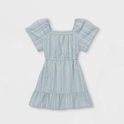 Toddler Girls' Eyelet Short Sleeve Dress - art class™ Light Blue