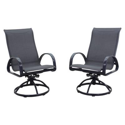 Santa Fe Aluminum 2pk Swivel Rocker Chairs - Silver - Courtyard Casual