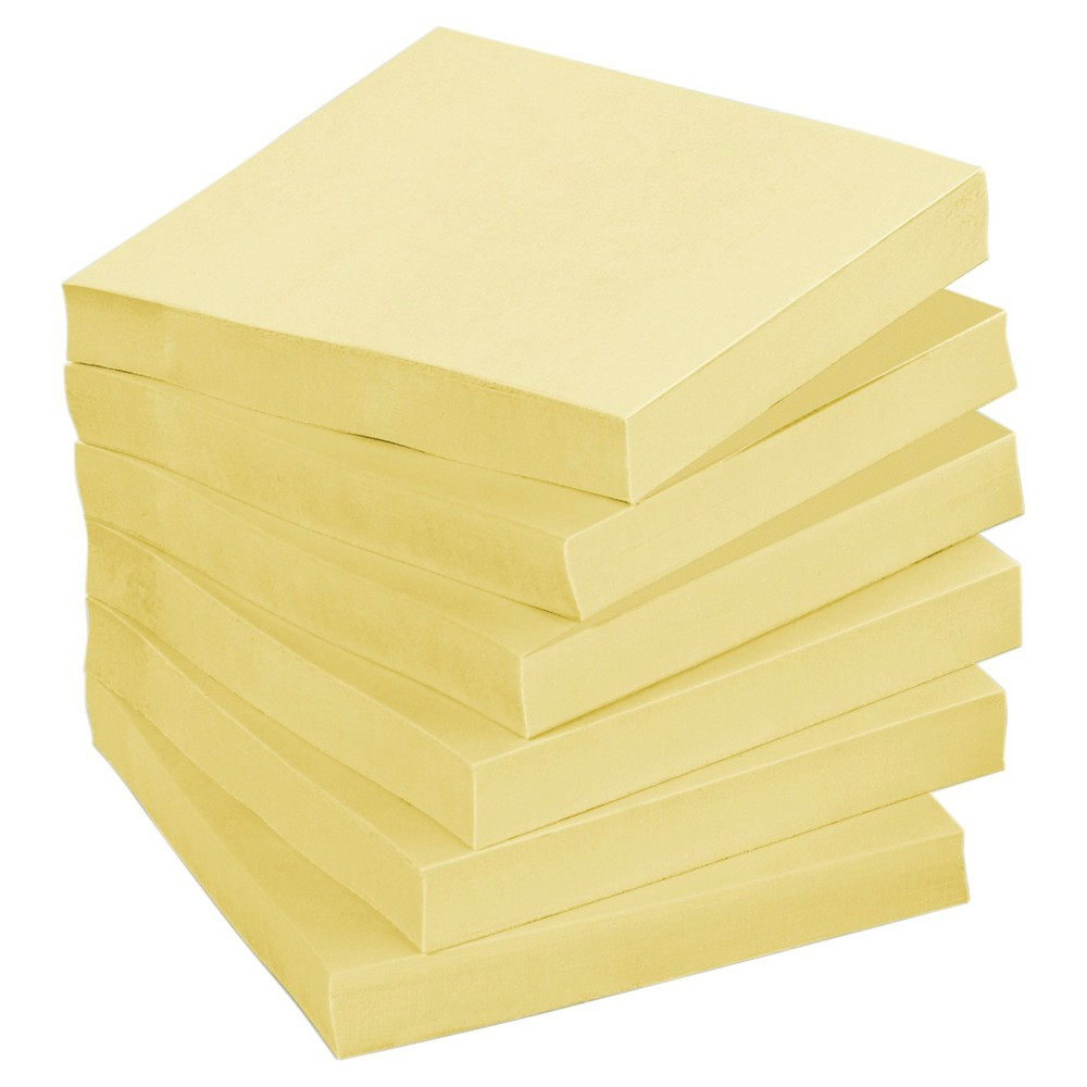 Post - it Greener Recycled Notes 3 x 3 - Canary Yellow (75 Sheet Pads Per Pack)