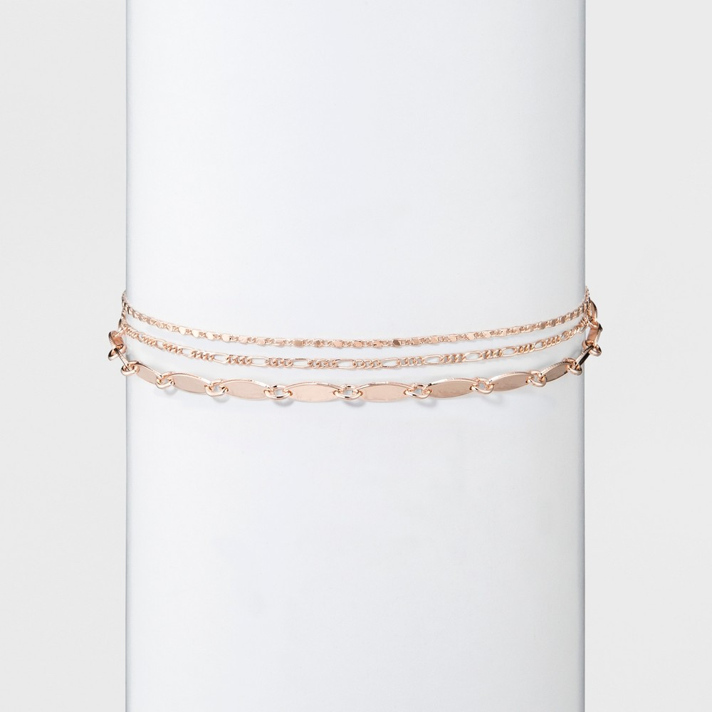 Women's Choker with Layered chain - Rose Gold