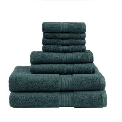 8pc Cotton Bath Towel Set Dark Green