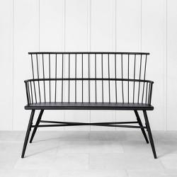 Indoor/Outdoor Patio Captain Arm Bench Black - Hearth & Hand with Magnolia Furniture