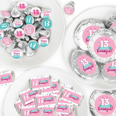 Big Dot of Happiness Girl 13th Birthday - Official Teenager Birthday Party Candy Favor Sticker Kit - 304 Pieces