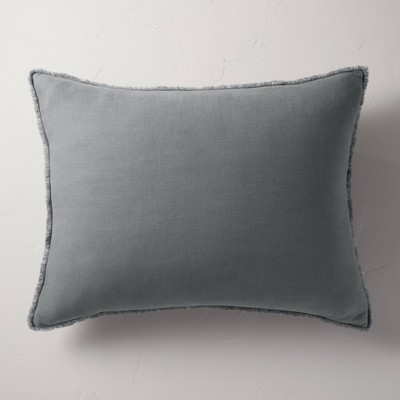 King Euro Heavyweight Linen Blend Throw Pillow Dark Gray - Casaluna™