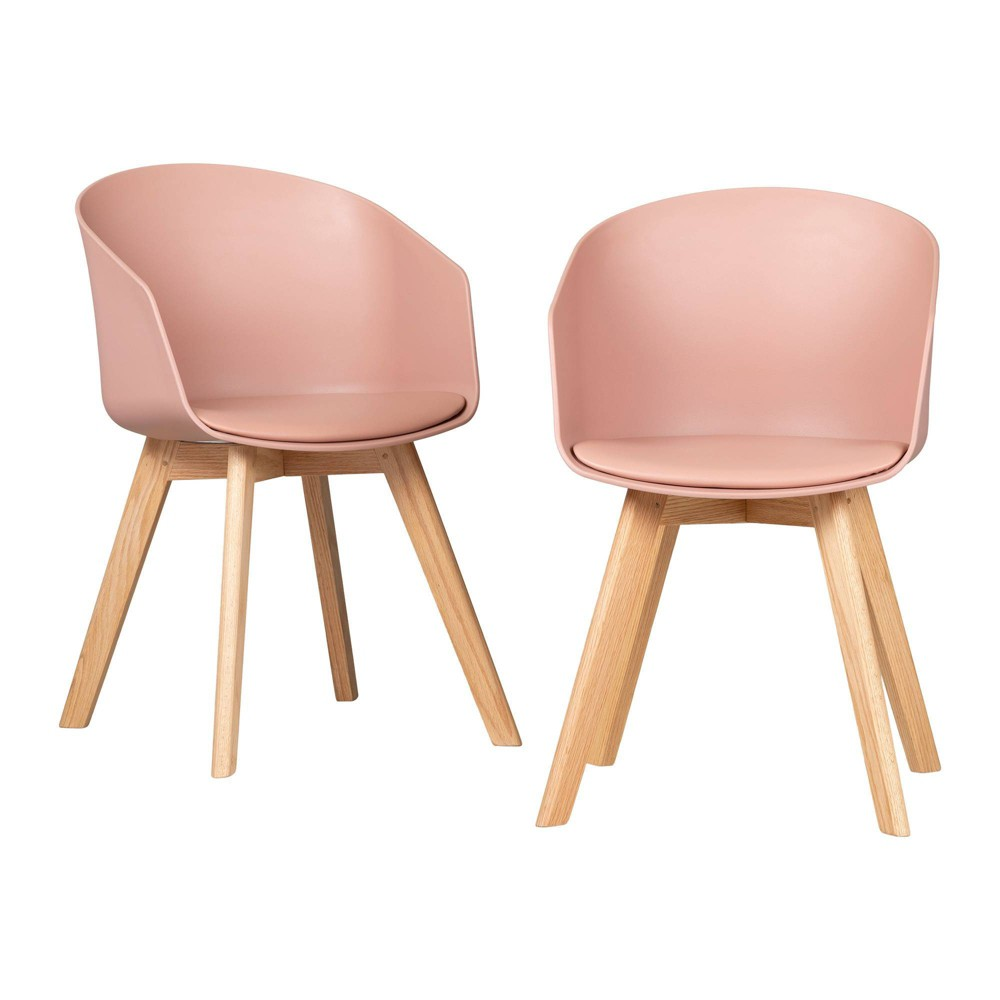Set Of 2 Flam Dining Chairs With Wooden Legs Pink South Shore