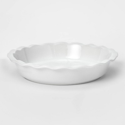 "10.4"" Stoneware Round Pie Dish White - Threshold™"