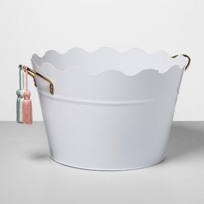 6gal Metal Beverage Tub with Decorative Tassels White - Opalhouse™