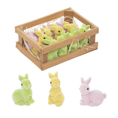 Gallerie II Pastel Green, Yellow Easter Bunny Figures in Crate Set of 12