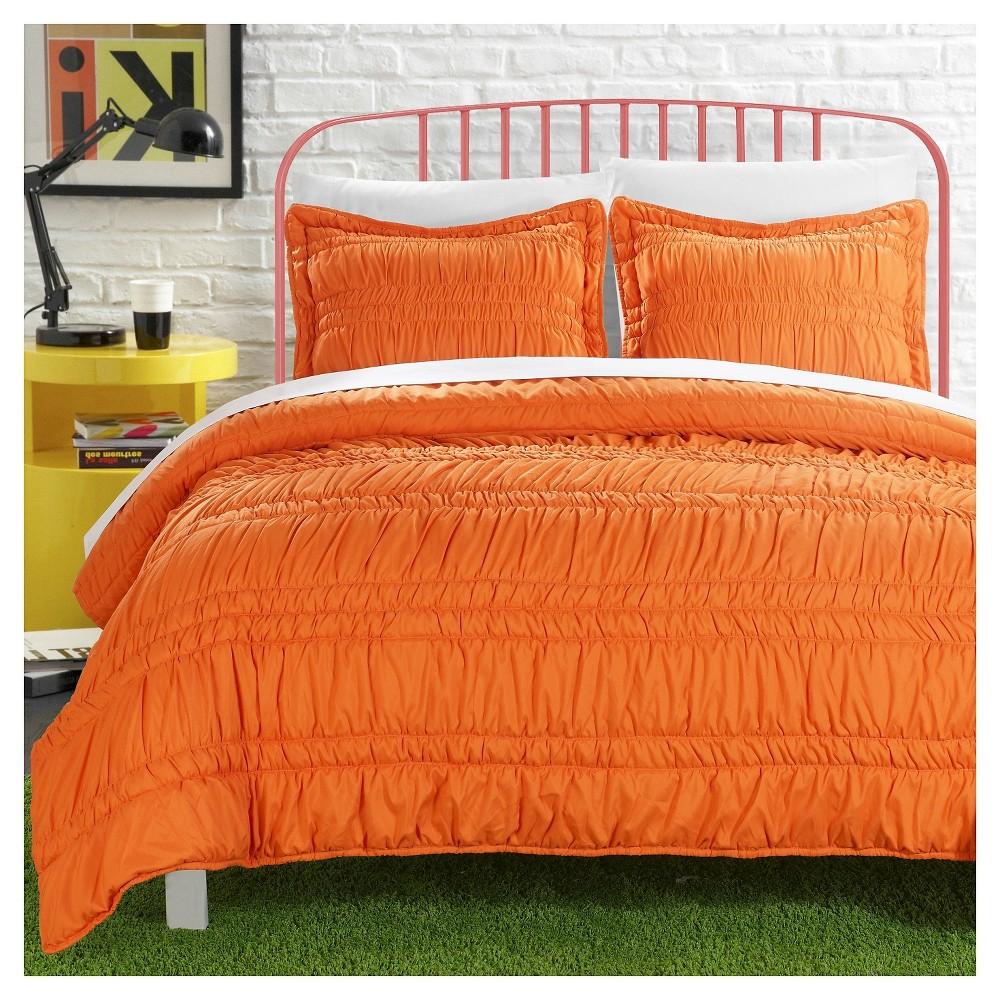 3pc Full Caress Pleated Ruffle Quilt Set Orange - Chic Home Design