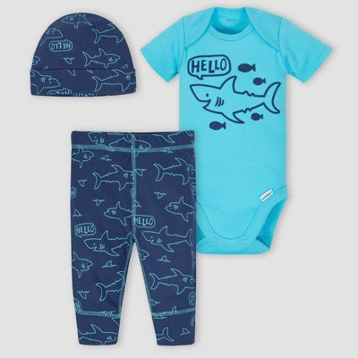 Gerber Baby Boys' 3pc Shark Onesies Bodysuit Pants and Hat Set - Blue 3-6M