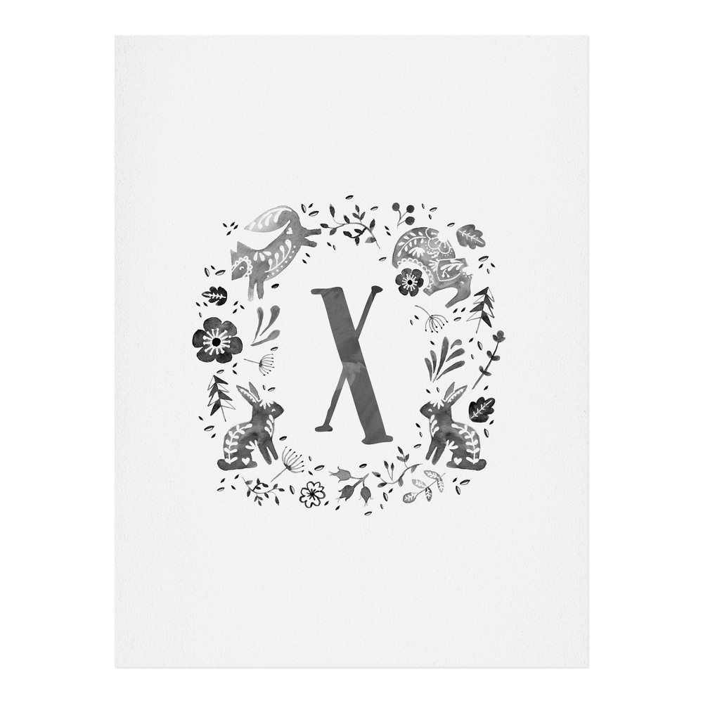 "Image of ""11""""x14"""" Wonder Forest Folky Forest Monogram Letter """"X"""" Art Print Unframed Wall Poster Gray - Deny Designs"""