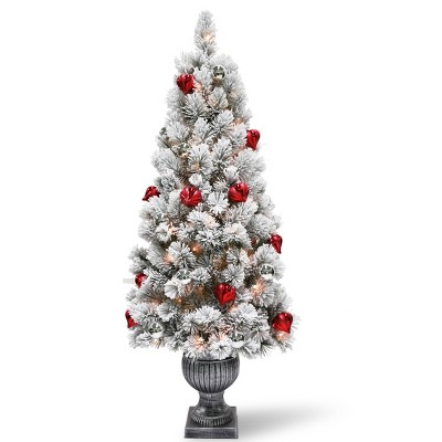 5ft National Christmas Tree Company Snowy Bristle Pine Artificial Pencil Christmas Tree 100ct Clear