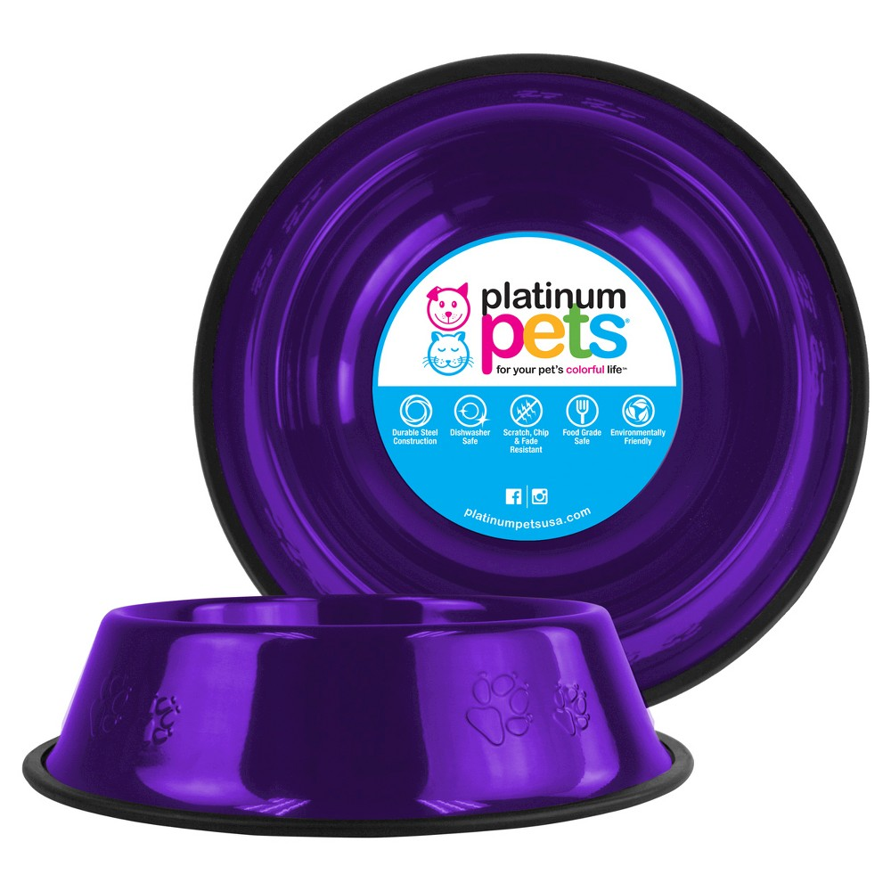 Platinum Pets Embossed Non Tip Cat Dog Bowl Electric Purple 3 5 Cup