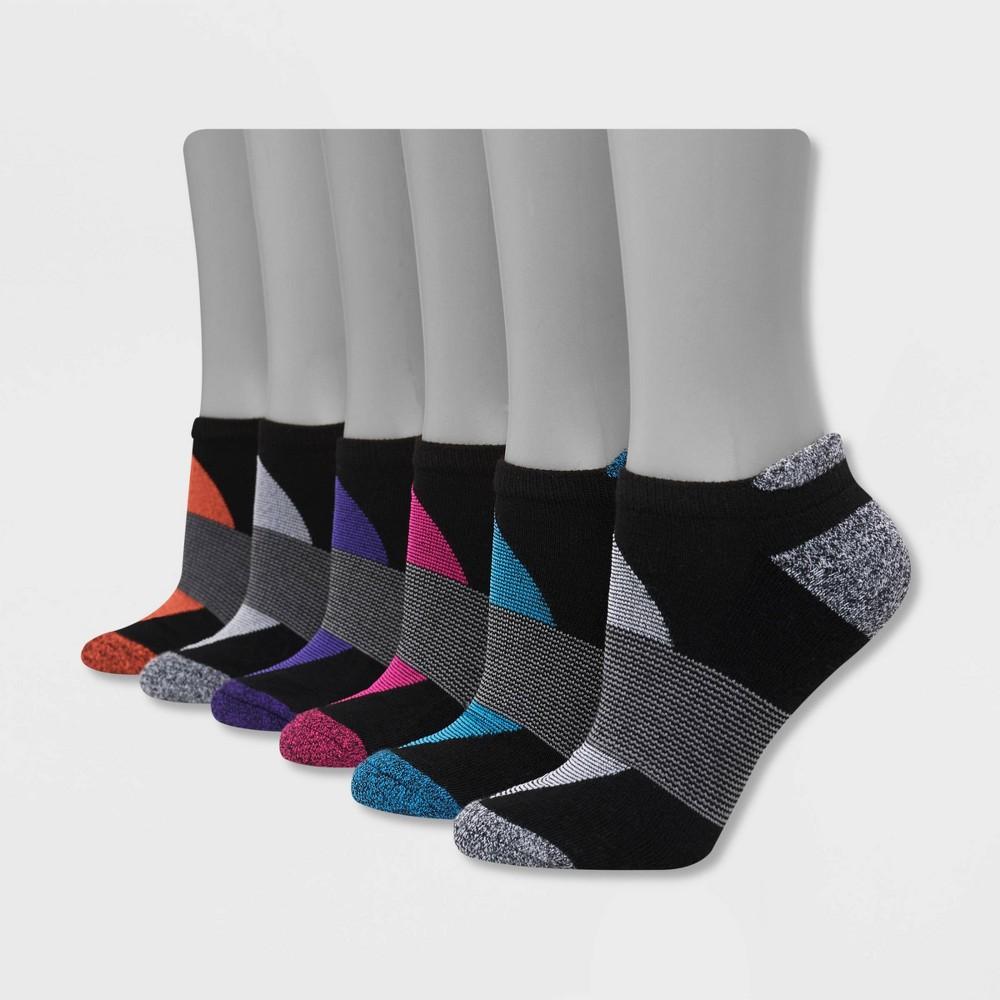 Hanes Performance Women 39 S Cushioned 6pk No Show Tab Athletic Socks Black 5 9