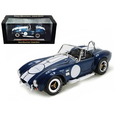 1965 Shelby Cobra 427 S/C Dark Blue Metallic w/White Stripes & Printed Signature on Trunk 1/18 Diecast Model Shelby Collectibles