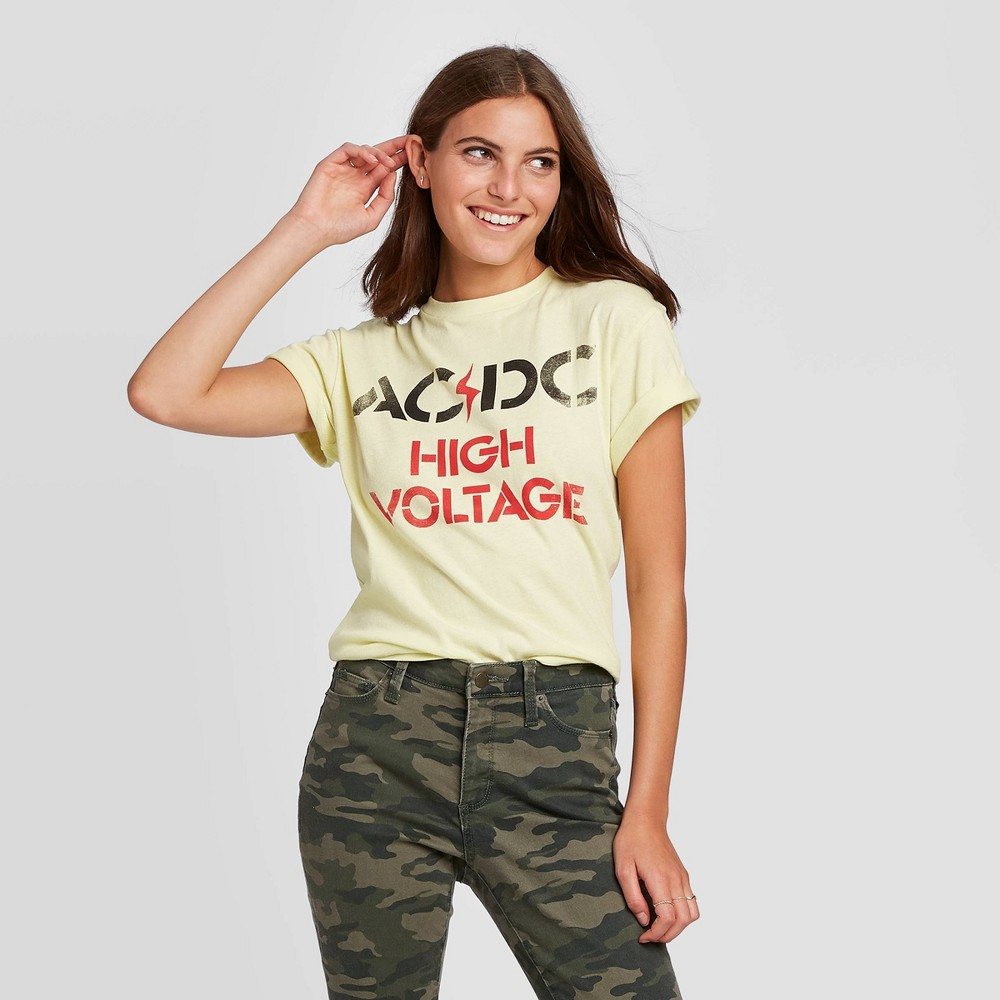 Image of Women's AC/DC High Voltage Short Sleeve Boyfriend Graphic T-Shirt (Juniors') - Yellow L, Women's, Size: Large