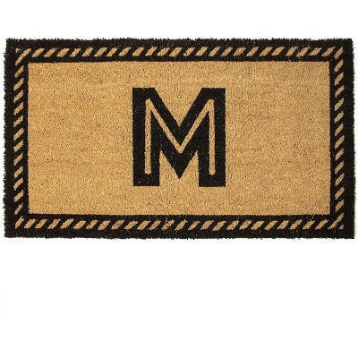 Monogrammed Door Mat with Letter M, Nonslip Coir Welcome Mat (17 x 30 Inches)