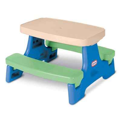 Little Tikes Easy Store Jr. Portable Plastic Play and Picnic Table, Multi Colored