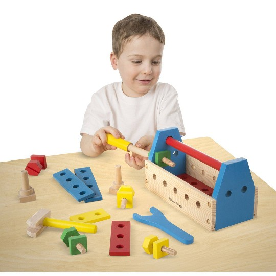 Melissa & Doug Take-Along Tool Kit Wooden Construction Toy (24pc) image number null