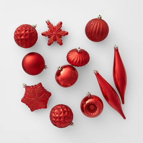 Christmas Ornament Set.40ct Christmas Ornament Set Red Wondershop