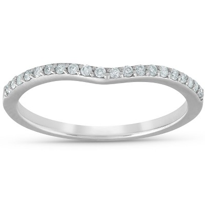 Pompeii3 1/8cttw Diamond Curved Wedding Engagement Guard Enhancer Band 14k White Gold