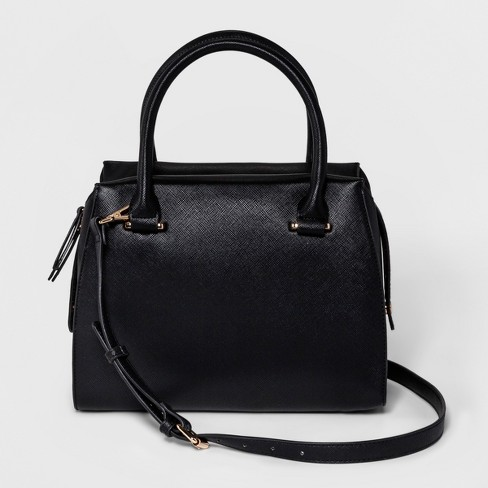 Saffiano Satchel - A New Day™ Black - image 1 of 3