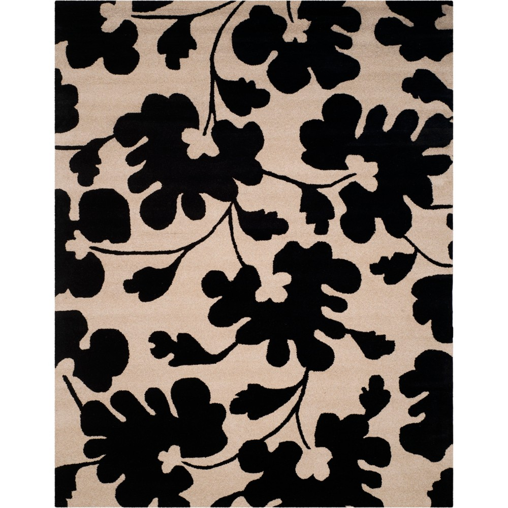 76x96 Leaf Tufted Area Rug Beigeblack Safavieh