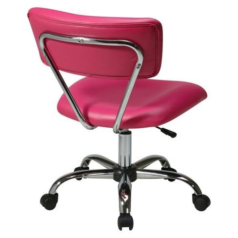 Vista Chrome And Vinyl Desk Chair Pink Office Star Target