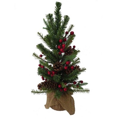 """Kurt Adler 18"""" PVC Tree With Red Berry, Pinecone and Burlap"""