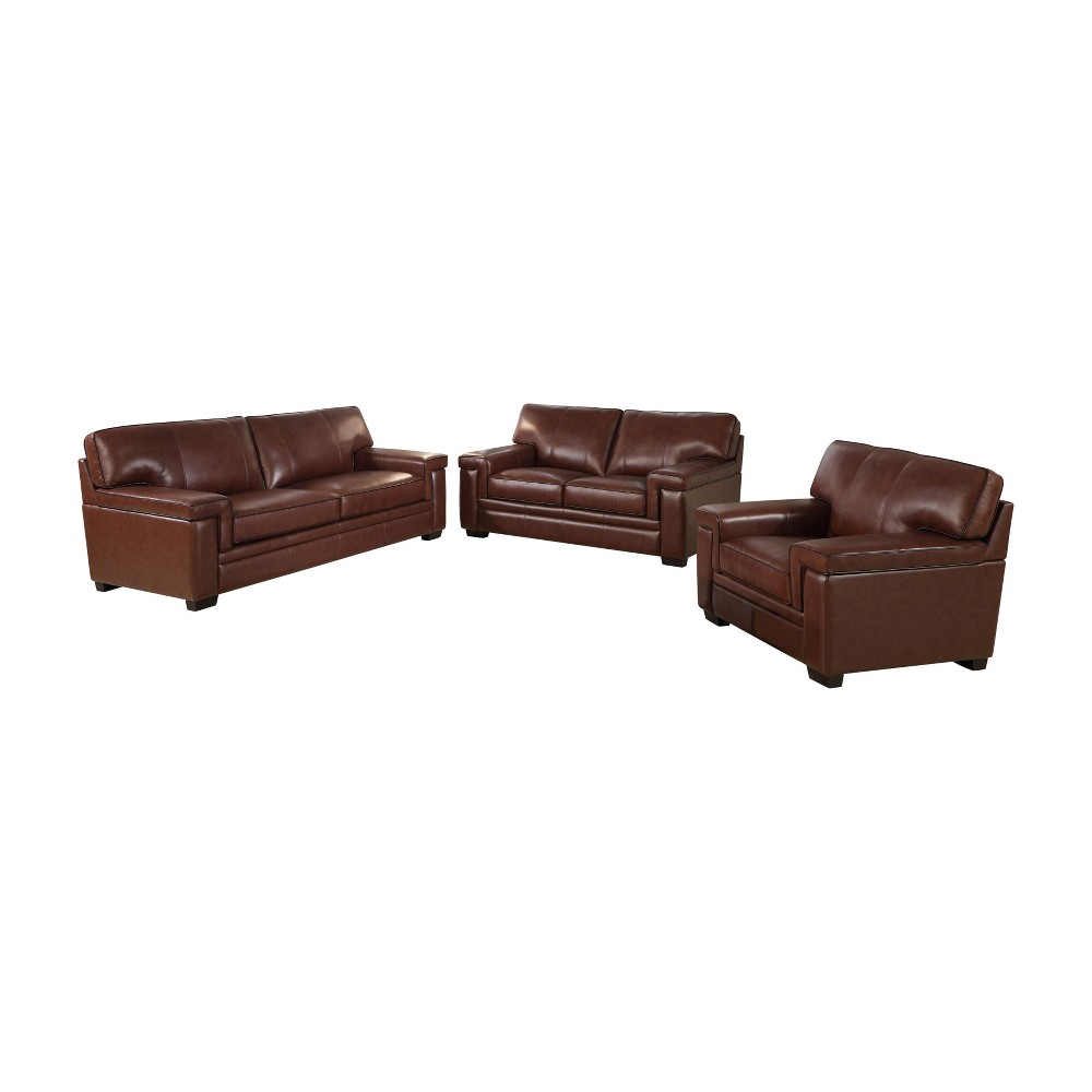 Image of 3pc Evan Top Grain Leather Seating Set Brown - Abbyson Living