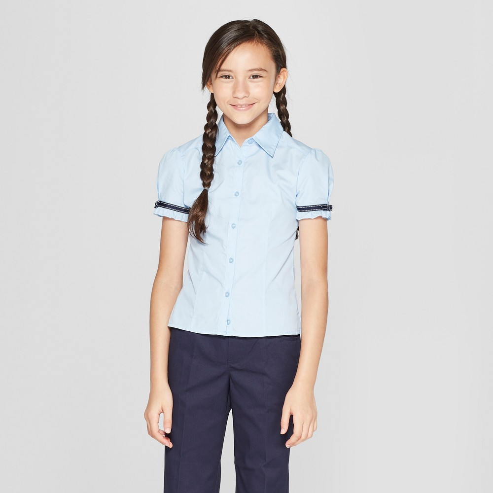 French Toast Girls' Short Sleeve Uniform Blouse With Ribbon Trim - Light Blue 12