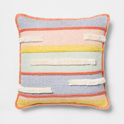Textured Stripe Square Throw Pillow - Opalhouse™