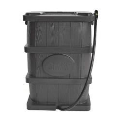 FCMP Outdoor WG4000-GRY Home Outdoor Wood Grain Rain Water Catcher Barrel, Gray