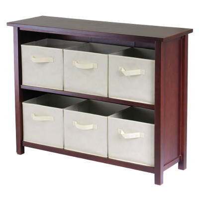 Verona 30  Storage Shelf with 6 Baskets - Walnut/Beige - Winsome