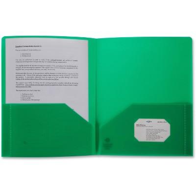 Business Source Poly Portfolio 2 Pocket LTR .3mil Green 20882