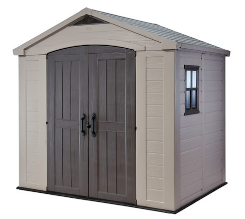 Factor Large Resin Outdoor Storage Shed 8X6 - Taupe/Beige - Keter - image 1 of 12