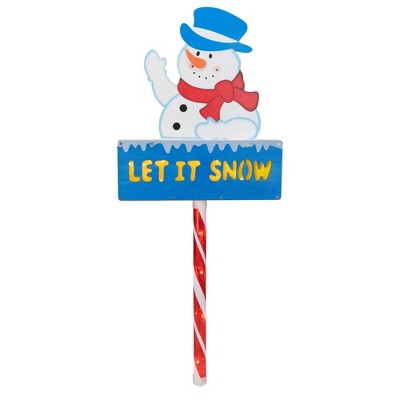 """Northlight 28.5"""" Pre-Lit Snowman 'LET IT SNOW' Christmas Lawn Stake - Clear Lights"""