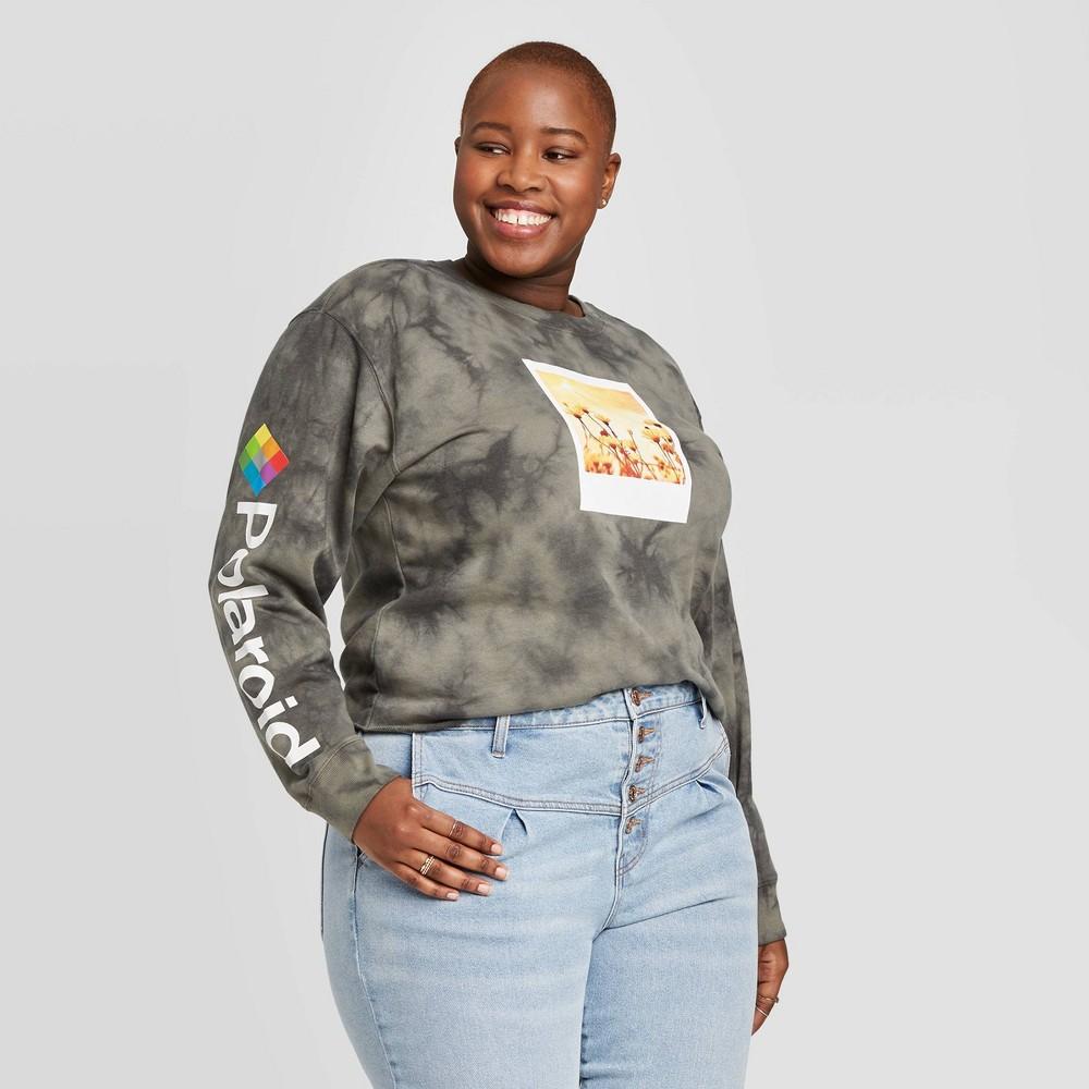 Women's Polaroid Plus Size Cropped Graphic Sweatshirt (Juniors') - Gray 2X was $19.99 now $13.99 (30.0% off)