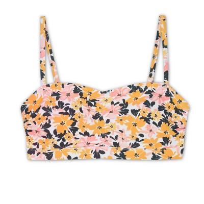 Women's Post-Mastectomy Shirred Bandeau Bikini Top - Kona Sol™ Light Yellow Vintage Blossoms