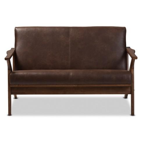 Bianca Mid Modern Walnut Wood Distressed Faux Leather 2 Seater Loveseat Dark Brown Baxton Studio Target